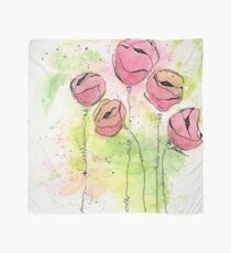 Pink and Green Splotch Flowers Scarf