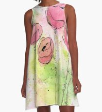 Pink and Green Splotch Flowers A-Line Dress