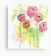 Pink and Green Splotch Flowers Metal Print