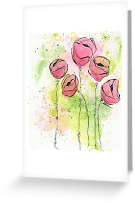 Pink and Green Splotch Flowers by Tiare Smith