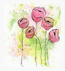 Pink and Green Splotch Flowers Photographic Print