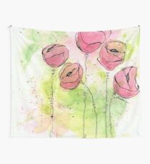 Pink and Green Splotch Flowers Wall Tapestry