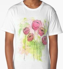 Pink and Green Splotch Flowers Long T-Shirt