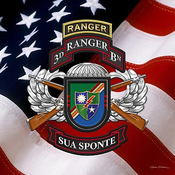 3rd Ranger Battalion - Army Rangers Special Edition over American Flag by Captain7