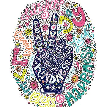 Peace Sign Lettering illustration- Peace, Love, Faith, Joy, Hope, Kindness, Trust by picbykate