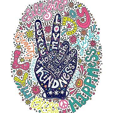 Signo de la paz Letras ilustración- Paz, amor, fe, alegría, esperanza, amabilidad, confianza de picbykate