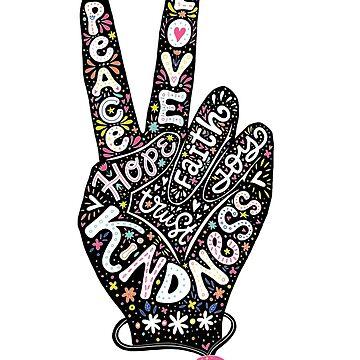 Signo de la paz con palabras Paz, amor, fe, alegría, esperanza, amabilidad, confianza de picbykate