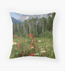 Wildflower Meadow at Mt. Robson Throw Pillow