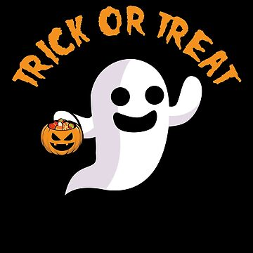 Trick or Treat Spooky Halloween Ghost Jack O Lantern by BUBLTEES