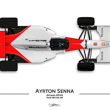 Formula 1 - Ayrton Senna - McLaren MP4/8 - Top view Art Print by JageOwen