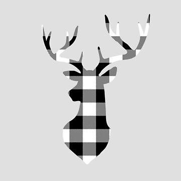Black and White Buffalo Plaid Deer Head by KokoloHG