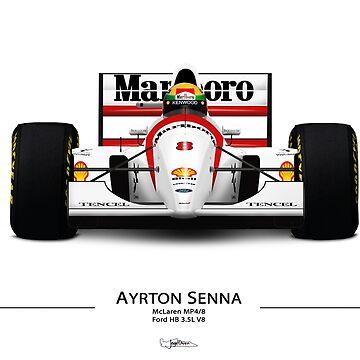 Formula 1 - Ayrton Senna - McLaren MP4/8 - Front view Art Print by JageOwen