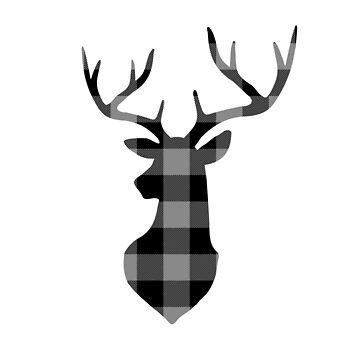 Gray and Black Buffalo Plaid Deer Head by KokoloHG