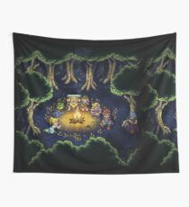 Chrono Camping Pixels Wall Tapestry