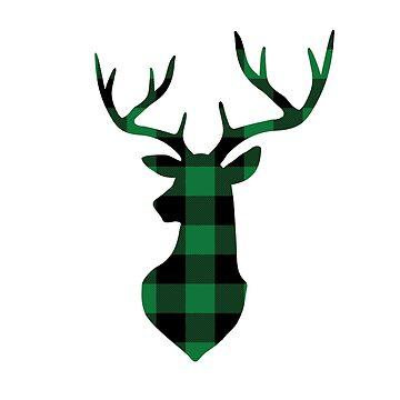 Green and Black Buffalo Plaid Deer Head by KokoloHG