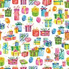 Beautiful Watercolor Birthday Presents Pattern by SamAnnDesigns