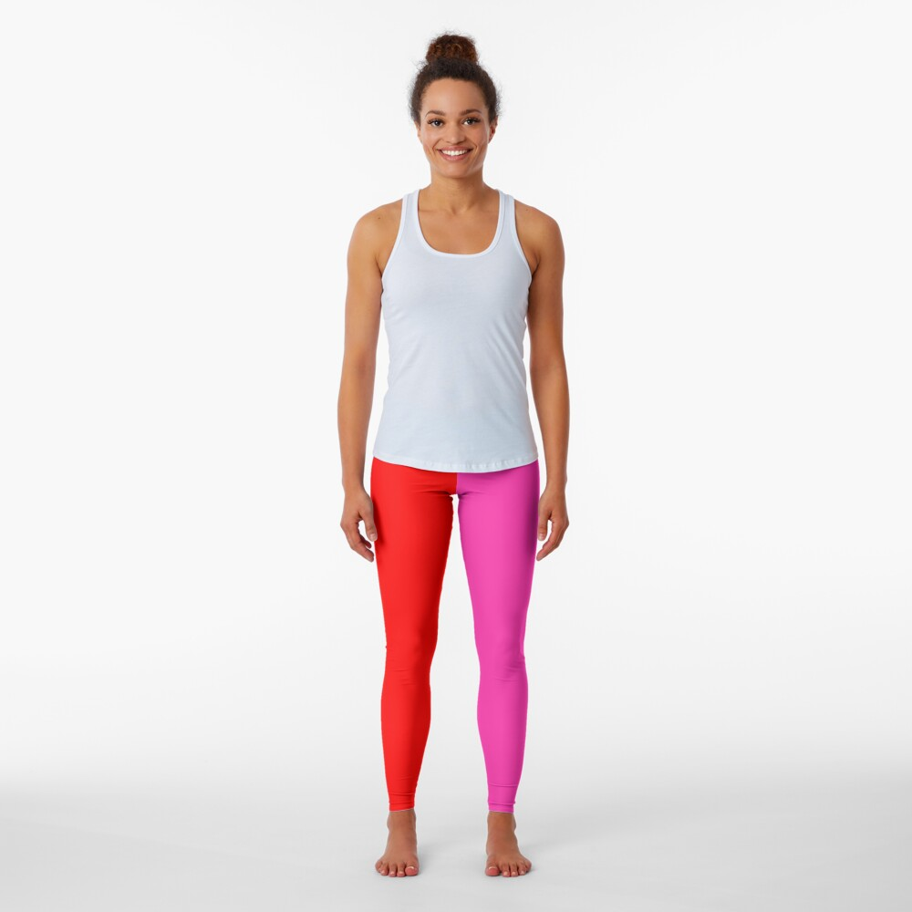 Colour blocking red and pink Leggings