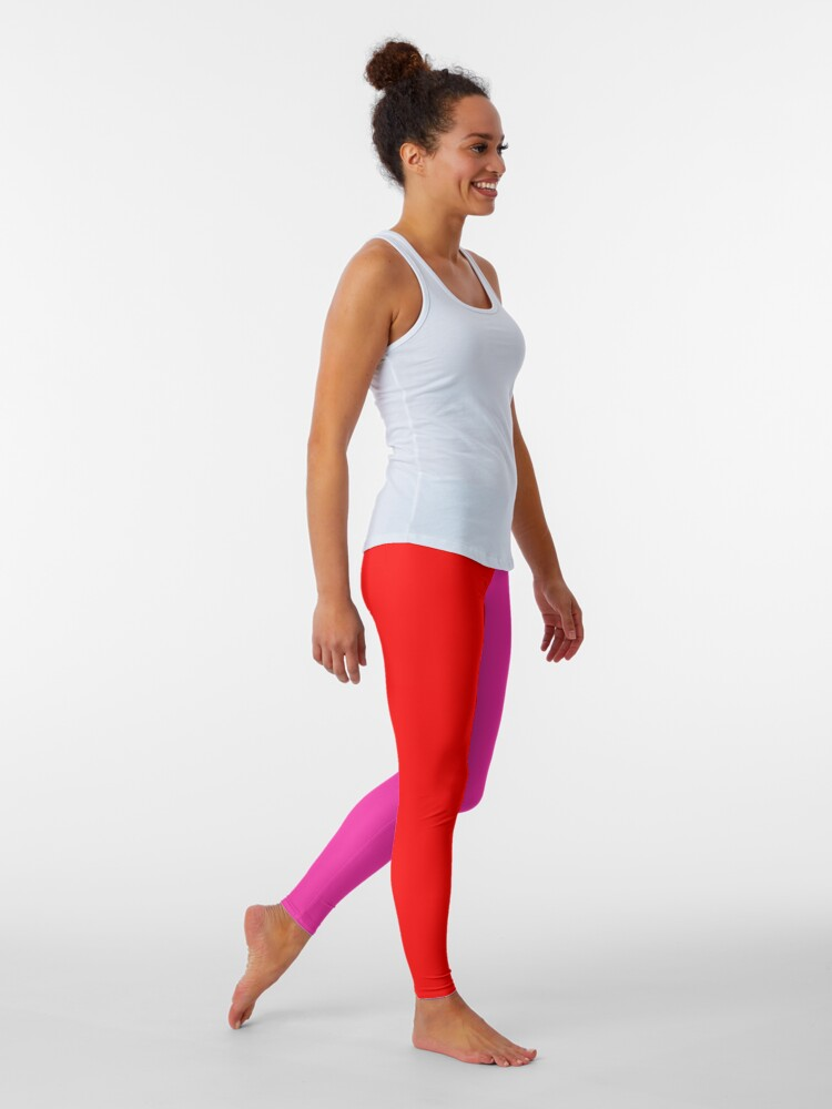 Alternate view of Colour blocking red and pink Leggings