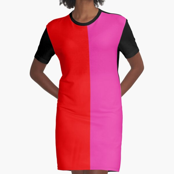 Colour blocking red and pink Graphic T-Shirt Dress