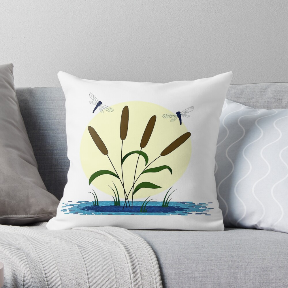 Cattails and Dragonflies Throw Pillow