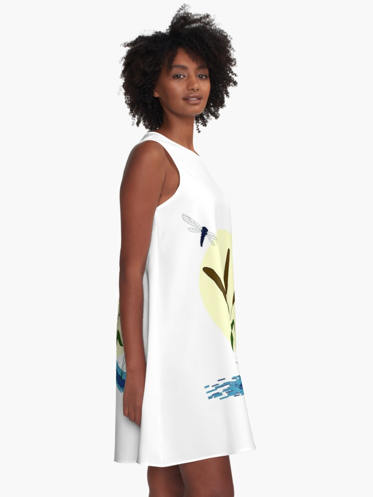 Alternate view of Cattails and Dragonflies A-Line Dress