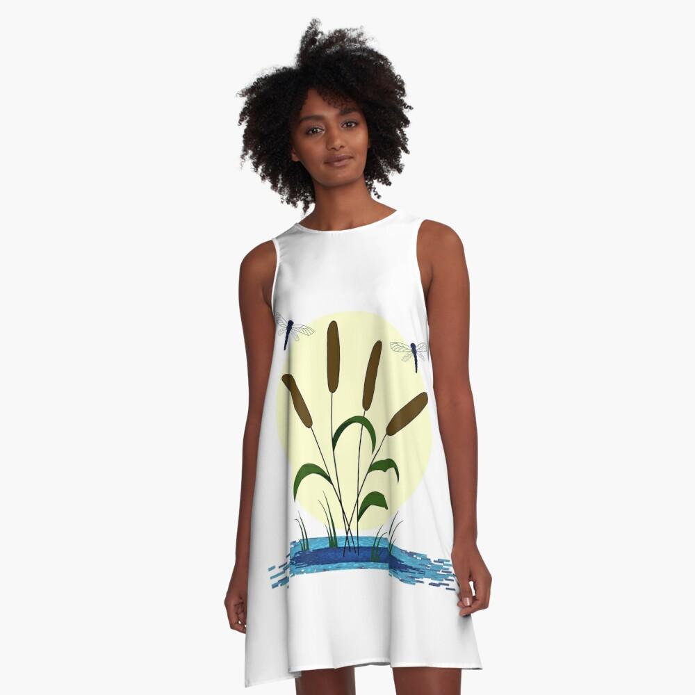 Cattails and Dragonflies A-Line Dress