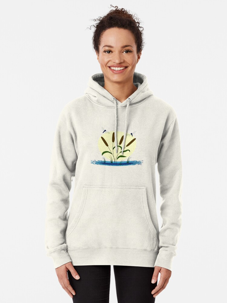 Alternate view of Cattails and Dragonflies Pullover Hoodie