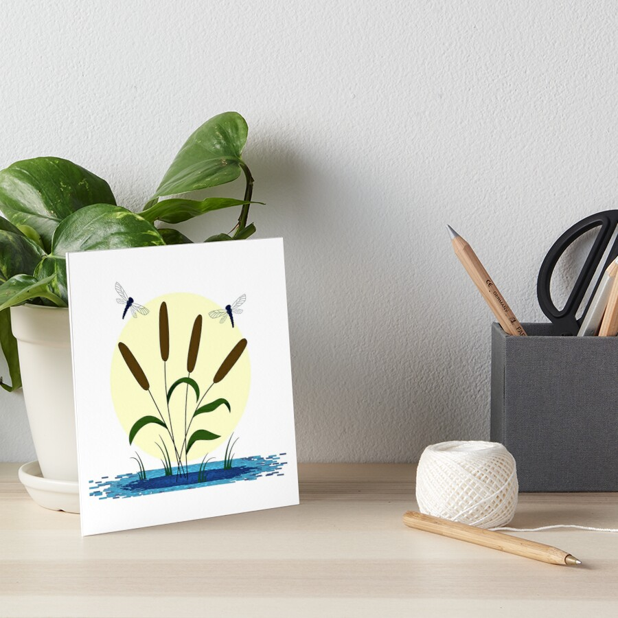 Cattails and Dragonflies Art Board Print