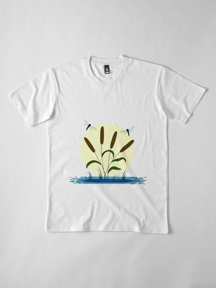 Alternate view of Cattails and Dragonflies Premium T-Shirt