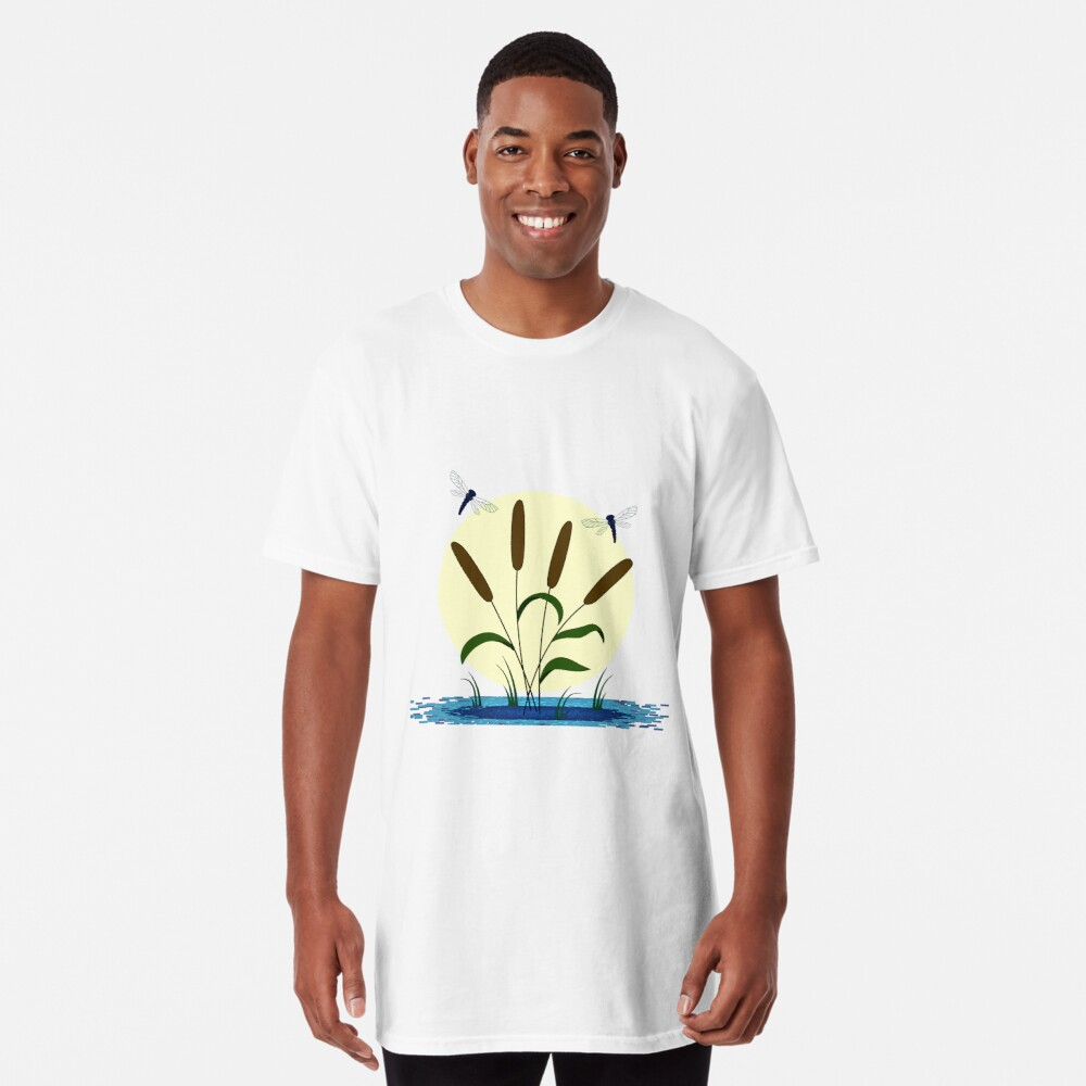 Cattails and Dragonflies Long T-Shirt