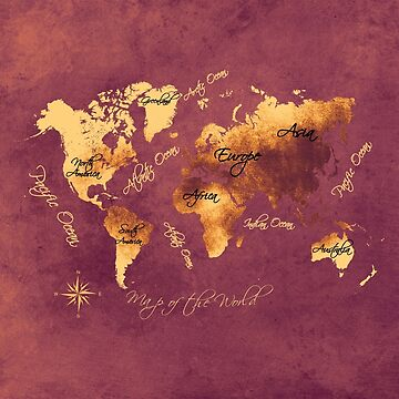world map 150 rose brown gold #worldmap #map by JBJart