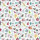 Retro Christmas Vintage Santa Snowman Pattern by SamAnnDesigns