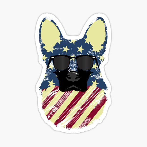 German Shepherd Cool Patriot  Sticker