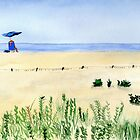 Assateague Island Watercolor Beach Painting by Sandra Connelly