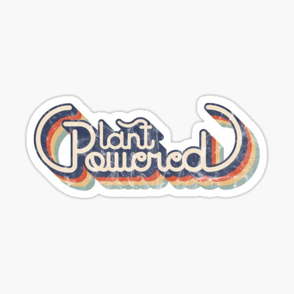 Plant Powered Vegan T-Shirt Vintage Distressed Washed and Worn Graphic Sticker