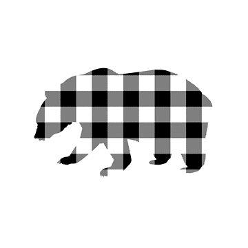 Black and White Buffalo Plaid Bear by KokoloHG