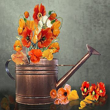 Copper Watering Can and Poppies by JMarielle