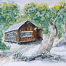 Snow Storm Hut - Watercolour by Paul Gilbert