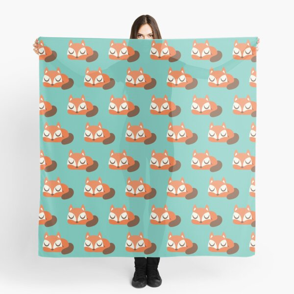 Sleeping Fox Repeat Print - Teal Scarf