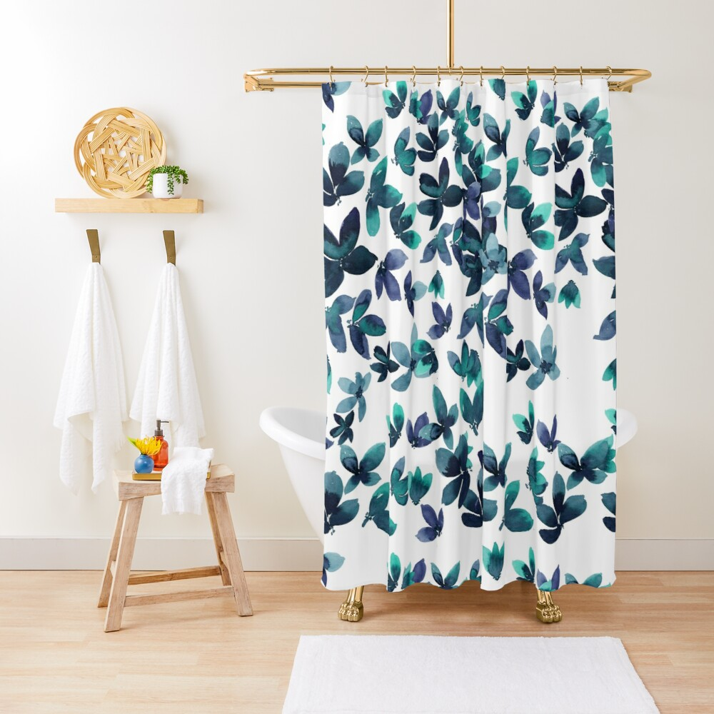 Born to Butterfly - Teal and Navy Palette Shower Curtain