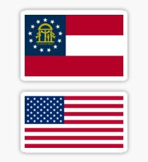 Georgia + amerikanische (USA) Flagge Sticker