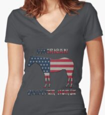 Quarter Horse with American Flag Women's Fitted V-Neck T-Shirt