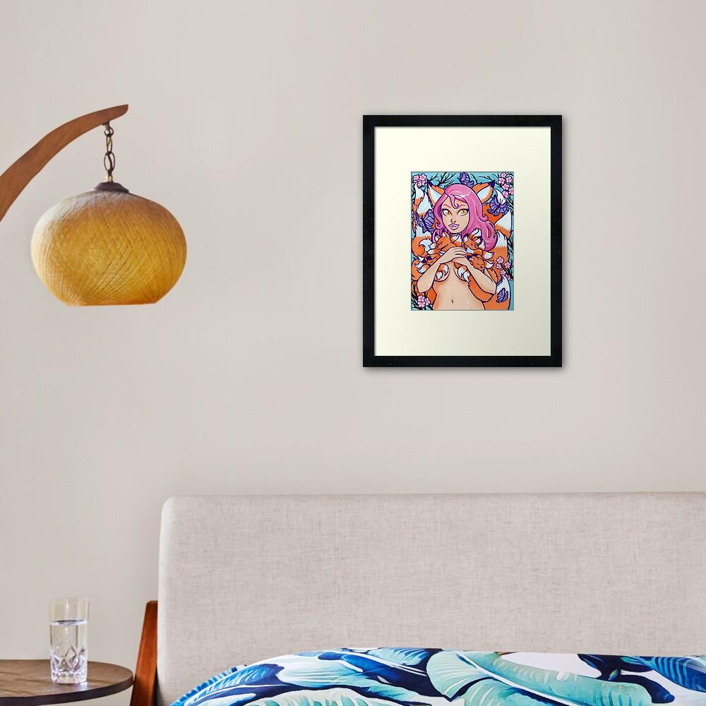 Kitsune in Bloom Framed Art Print
