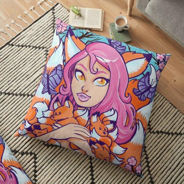 Kitsune in Bloom Floor Pillow