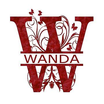 Wanda | Girls Name Monogram | Watercolor and Butterflies  by PraiseQuotes