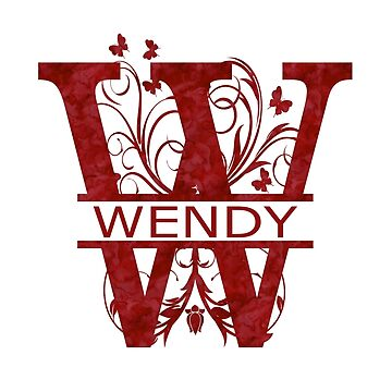 Wendy | Girls Name Monogram | Watercolor and Butterflies  by PraiseQuotes
