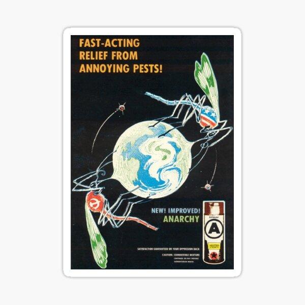 ¡Alivio de acción rápida de pestes molestas! Cartel anarquista de los 80 Pegatina