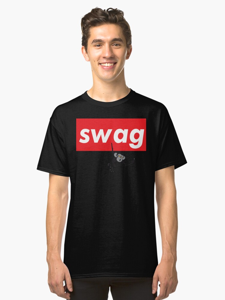 Swag Monkey Hanging Words Millennials Use Cool You Classic T-Shirt Front