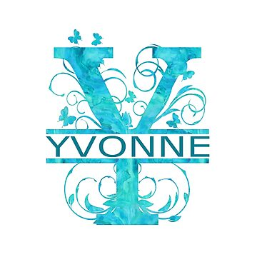 Yvonne | Girls Name Monogram | Watercolor and Butterflies  by PraiseQuotes