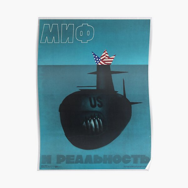 """Myth and reality"" Anti-American Soviet Propaganda Poster, USSR, 1983 Poster"